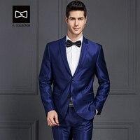 Tailor made Men Dark Blue Suit Shining Slim fit Wedding Suit Men Tuxedo 2 Pieces(Jacket+Pants) No.SZ160X8