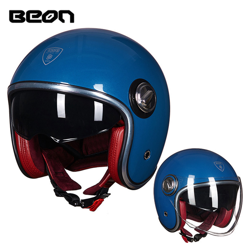 BEON Open Face Motorcycle Helmet Vintage Jet Half Cafe Racer Vespa Retro Moto Bobber Pilot Chopper Harley Kaski Motocyklowe 2016 newest netherlands authorization beon retro air force harley style half face motorcycle helmet b 100 of abs matte black cat
