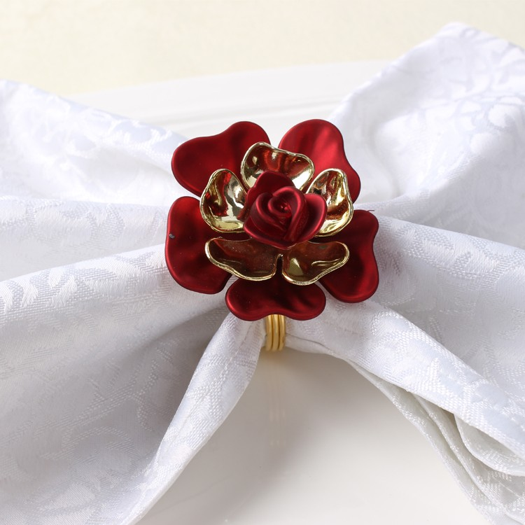 10pcs/lot China Wind Exquisite Fashion Peony Napkin Buckle Napkin Ring For Wedding Party Red Napkin Holder