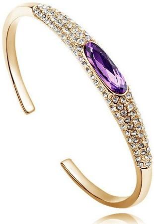 Австрийский Кристалл глаз тапочки AAAA+ стразы манжета жесткий Браслет Подарочный качество модные ювелирные изделия Прямая поставка Новое поступление - Окраска металла: gold purple