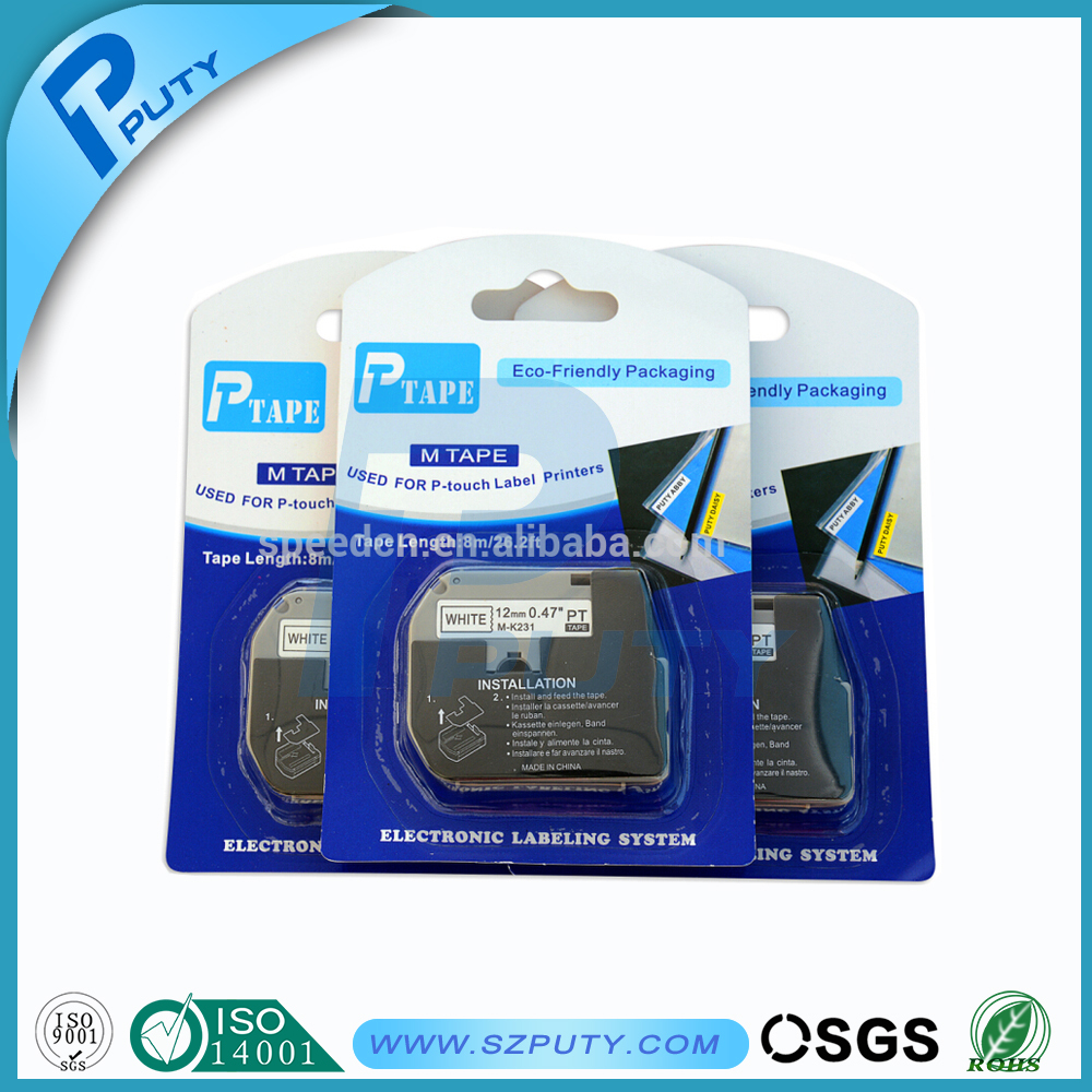 Compatible brother M tape cartridge 12mm black on white M K231 M-K231 P touch tape PT100, PT110