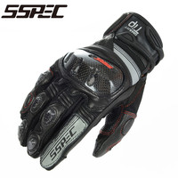 SSPEC Motorcycle Gloves Leather Touch Screen Moto Glove Men Protective Gears Motocross Glove Cycling Bike Luvas