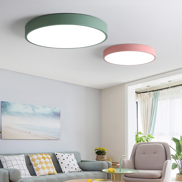 5 color Modern LED ceiling lights Round simple decoration fixtures ...