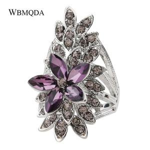 Модное хрустальное кольцо с цветком и листьями, Фиолетовое Стекло, серебряный цвет, большие свадебные кольца для женщин, Винтажные Ювелирны...