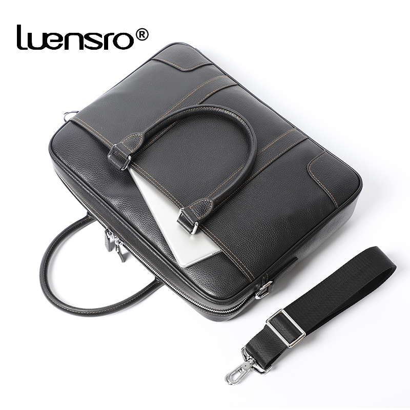 2019 New Large Briefcase Famous Brand Genuine Leather Men Business Tote Work Bag Shoulder Laptop Briefcase Office Bags for Men