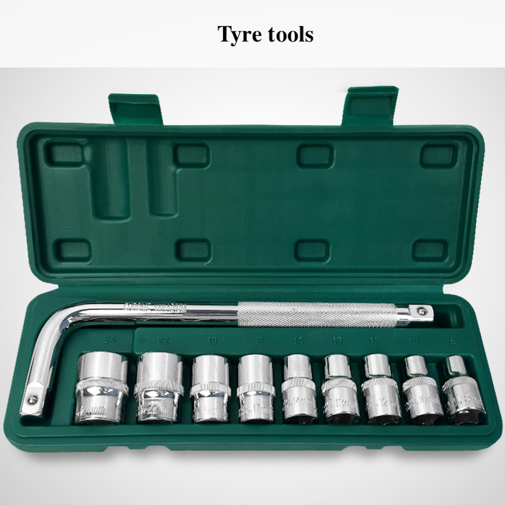 10-in-1 Combination Repairing Kit Handtool Set for Auto Motorcycles Generator Engine Tyre Socket Hand Tool