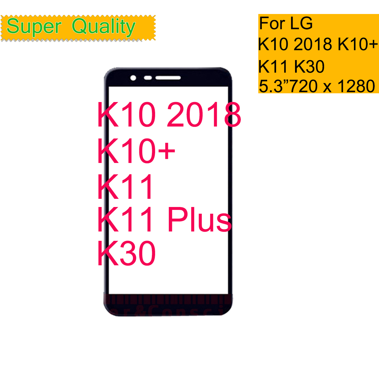 10Pcs/lot For LG K10 2018 K11 K10+ K11 Plus K30 X4+ X4 Touch Screen Front Glass Panel Front Outer Glass Lens K10 2018 LCD Glass
