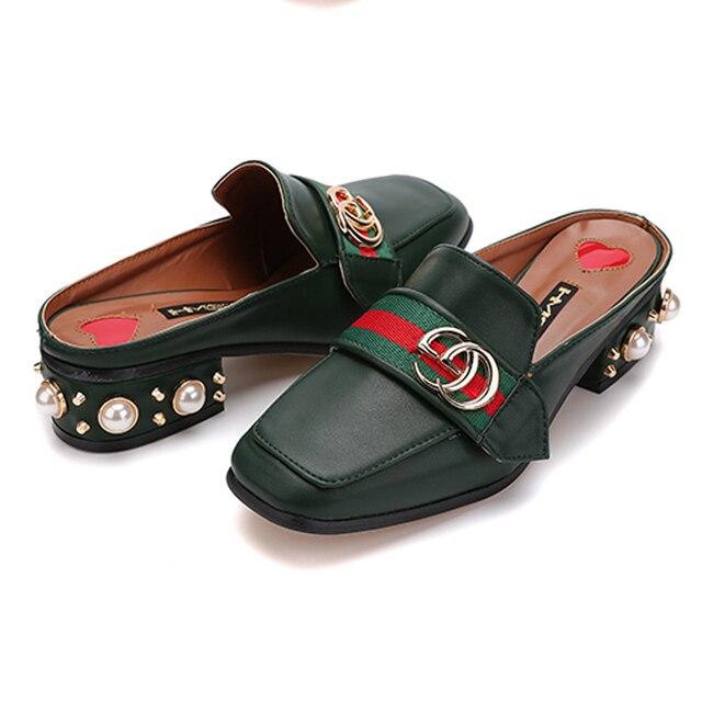 Черный/Белее Зеленый Случайные Дамы Ленивый Обувь Квадратных Носком Жемчужина Сандал Лето Стиль Низком Каблуке Тапочки Sandalia Feminina