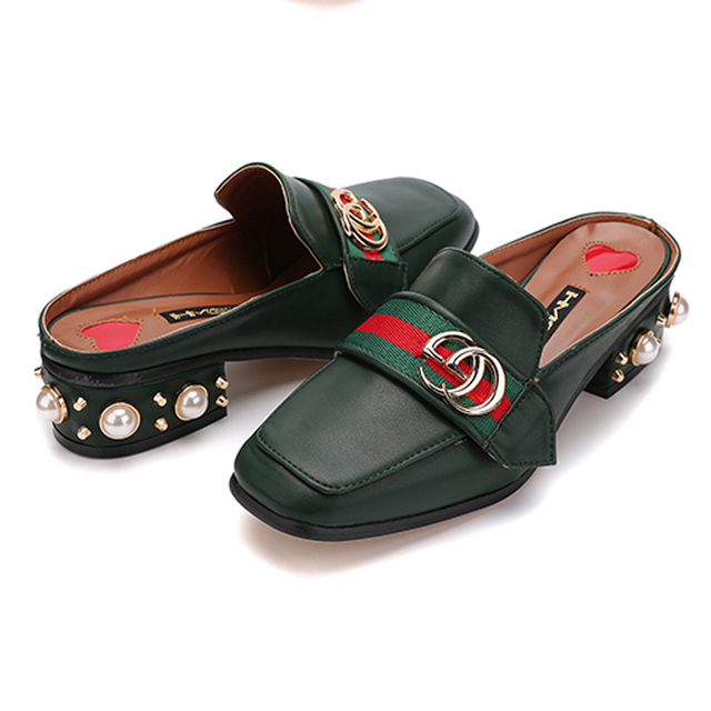 Black/Whiter/Green Casual Ladies Lazy Shoes Square Toe Pearl Sandal Summer Style Low Heel Slippers Sandalia Feminina