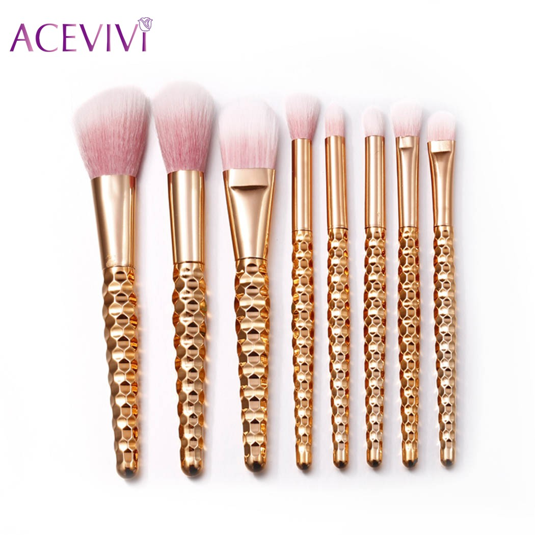 ACEVIVI 8Pcs Glitter Makeup Brushes Sets Cosmetic Tool Powder Foundation Blush Eyeshadow Eyeliner Lip Beauty Make up Brush Tools new 32 pcs makeup brush set powder foundation eyeshadow eyeliner lip cosmetic brushes kit beauty tools fm88