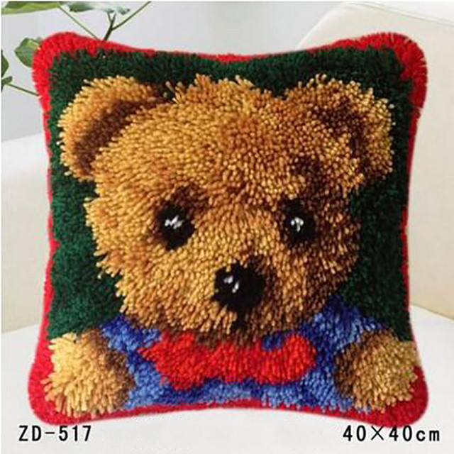 Throw Pillow Latch Hook Cushion Kit Diy Animal Embroidery Pillowcase Knooppakket Rug Yarn Canvas Craft