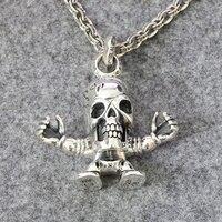 Прекрасный серебро 3D черепа кулон человека кулон панк свитер цепи Личная подвеска тенденции украшения
