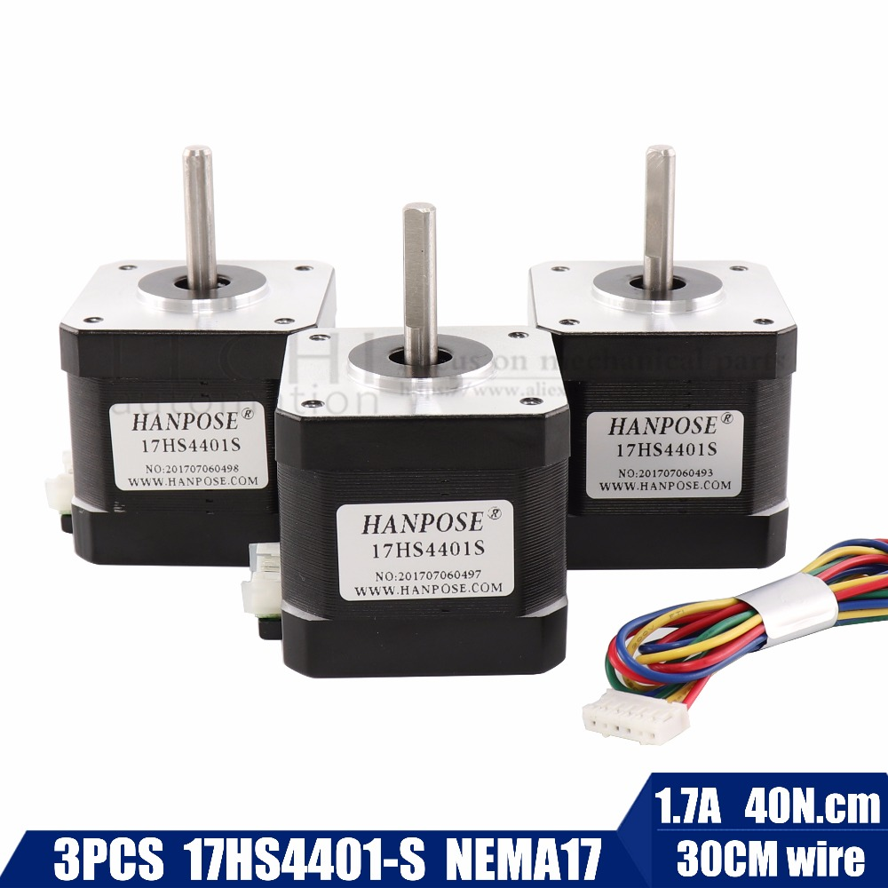 3pcs/lot Free Shipping 3D printer 4-lead Nema17 Stepper Motor 42 motor Nema 17 motor 42BYGH 1.7A (17HS4401S) motor for CNC XYZ