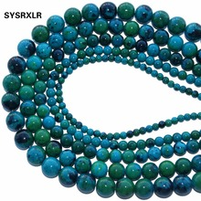 New Natural Stone Chrysocolla Round Loose Beads 15