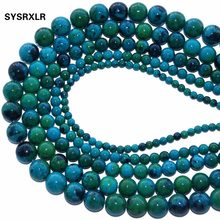 "New Natural Stone Chrysocolla Round Loose Beads 15"" Strand 4 6 8 10 12 MM Pick Size For Jewelry Making DIY Bracelet Necklace(China)"