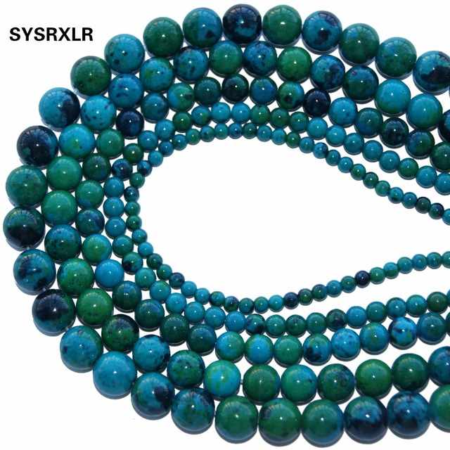 "New Natural Stone Chrysocolla Round Loose Beads 15"" Strand 4 6 8 10 12 MM Pick S"