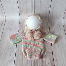 Newborn baby outfit onesie Knit mohair hooded long sleeve