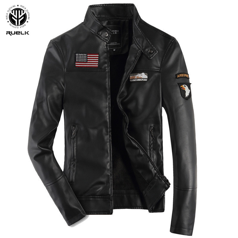 RUELK Fashion New Arrival Jacket Men High Quality Autumn And Winter Warm Fleece PU Leather Military Style Slim Fit Mens Jacket