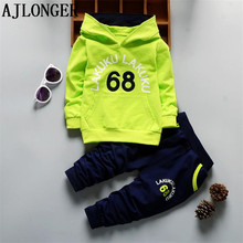 AJLONGER kids Spring Autumn New Baby Boy Clothes Kids Long Sleeve Hooded Sweatshirt Tops And Pants 2pcs Outfits Set