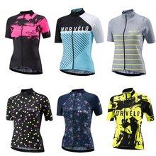 Morvelo das mulheres verão manga curta bicicleta camisa de ciclismo meninas estrada mtb bicicleta topos esportes ao ar livre ropa ciclismo roupas
