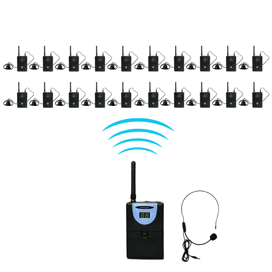 TP-WIRELESS Tour Guide System 2.4Ghz Wireless Simultaneous Translation System 1 transmitter 20 receiver +1 Micophone+20 earphone dhl shipping atg100 portable mini meeting tourism teach microphone wireless tour guide system 1transmitter 15 receivers charger