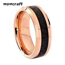 Tungsten Rings for Men Women Black Carbon Fiber Inlay Bevel Edges Polished Rose Gold Wedding Band