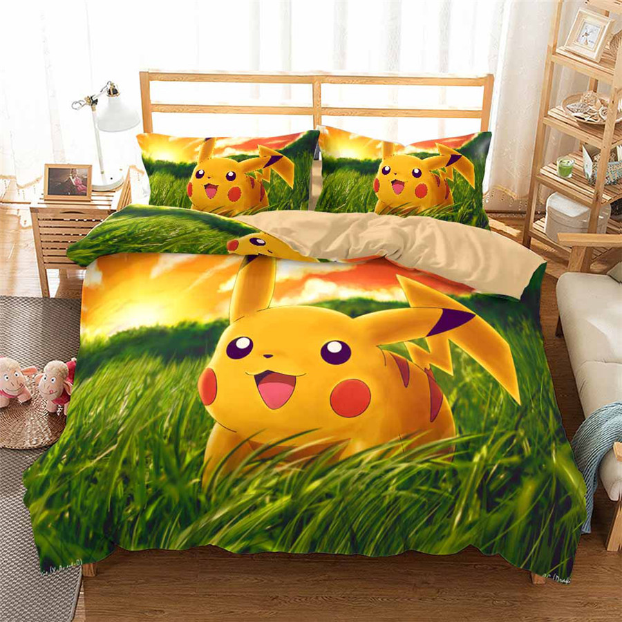 HELENGILI 3D Bedding Set Pokemon Pikachu Print Duvet Cover Set Bedcloth With Pillowcase Bed Set Home Textiles #GN-05