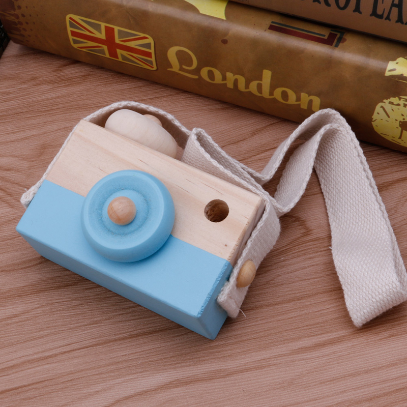 Wooden Toy Camera Kids Creative Neck Hanging Rope Toy Photography Prop Gift W30