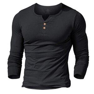 Image 1 - T shirt henley homme MUSCLE living robe ajustée chemise à manches pour hommes chemises ajustées coton décontracté musculation fitness t shirt
