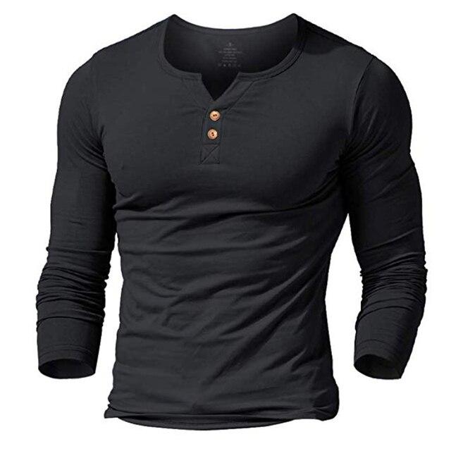 T shirt henley homme MUSCLE living robe ajustée chemise à manches pour hommes chemises ajustées coton décontracté musculation fitness t shirt