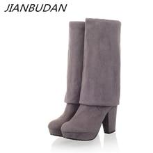 JIANBUDAN womens winter boots Sexy thigh high women over the knee High quality flock Autumn size 35-43