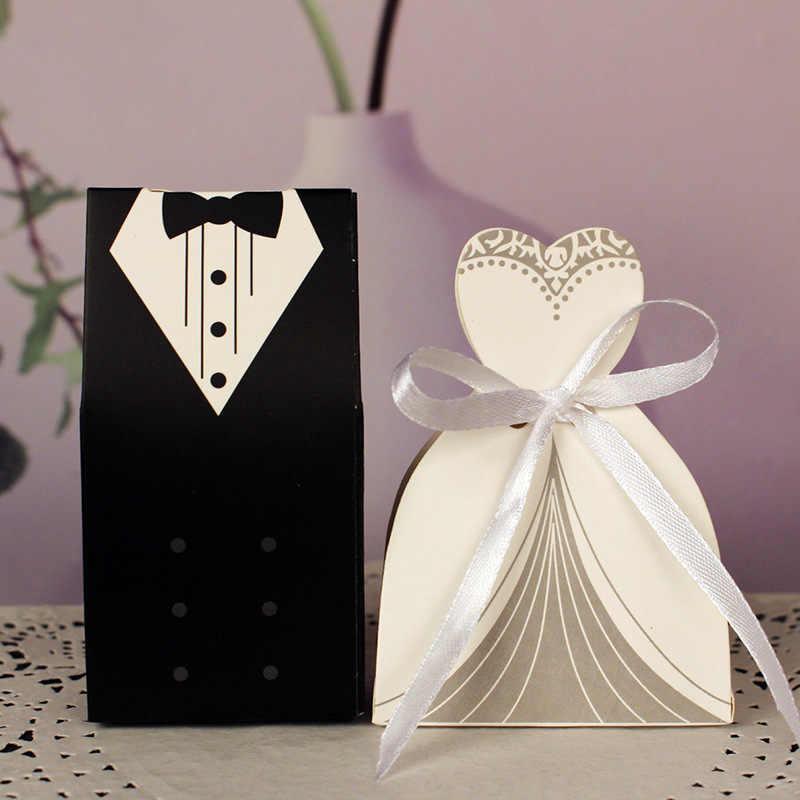 100 Stücke Braut Geschenk Cases Taschen Bräutigam Smoking Kleid Kleid Papier Mariage Boda Dekoration Bomboniere Band Hochzeit Gunsten Süßigkeitskästen