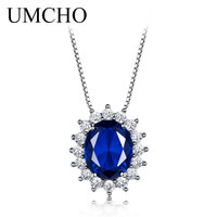 UMCHO 10 8mm Blue Sapphire Necklaces Pendants 925 Sterling Silver Statement Necklaces For Women Wedding Gift