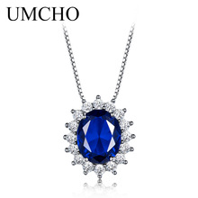 UMCHO 10*8mm Blue Sapphire Necklaces & Pendants 925 Sterling Silver Statement Necklaces  For Women  Wedding Gift With Chain