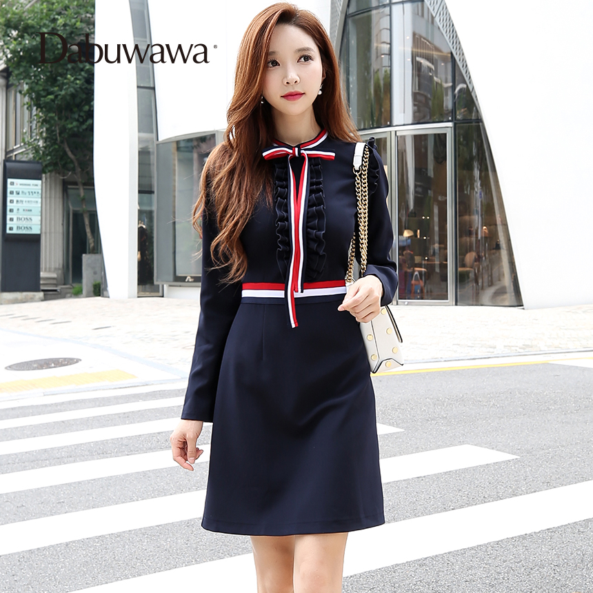 Dabuwawa Dark Blue Spring Long Sleeve Knitted Bow Dress A Line Elegant Vintage Ruffle Dress D17CDR335