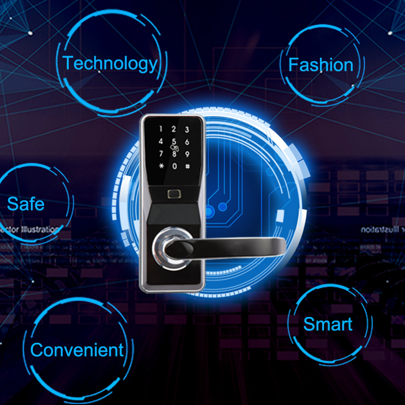 Eseye Smart Lock Intelligent Electronic Door Locks Smart Safe Biometric Fingerprint Door Lock Fingerprint Password & RFID Unlock eseye electronic lock door face digital door lock fingerprint intelligent electronic locks smart door lock touch screen keyless