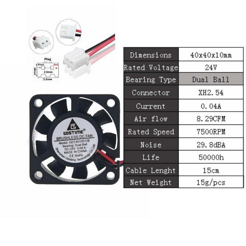2 шт. Gdstime DC 5 в 12 В 24 в 40 мм x 40 мм x 10 мм 40 мм шарикоподшипник рукав мини маленькое охлаждение 4 см вентилятор 3d принтер охлаждающий вентилятор - Цвет лезвия: 24VDualBall0.04A