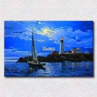 Piękny księżyc i morze ziemi scenerii obraz olejny popularne płótnie krajobraz drukuje do dekoracji wnętrz