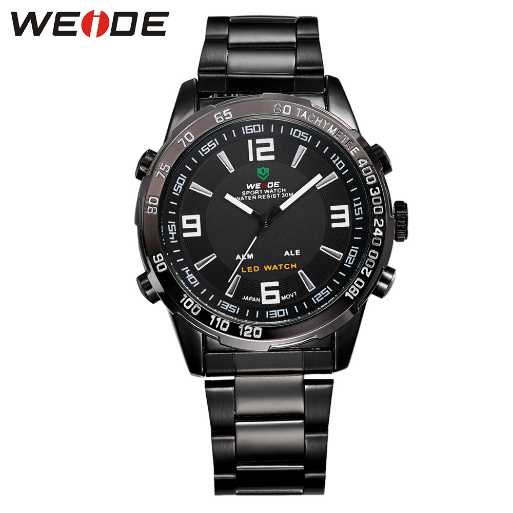 Hot Sale WEIDE Sport Watches For Men LED Disgital Display Janpan Movement Back Light Watch Waterproof Stainless Steel Band Gift hot sale 16inch waterproof oil price led digital number display screen sign panel from china