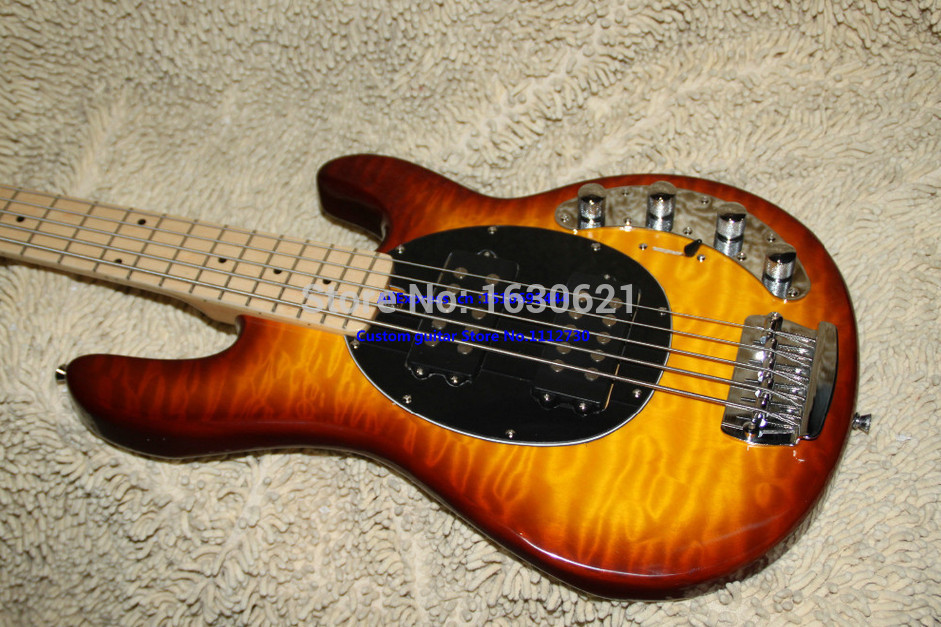 2015 new factory quilted maple top mahogany body musicman bass sunburst two pickups music. Black Bedroom Furniture Sets. Home Design Ideas