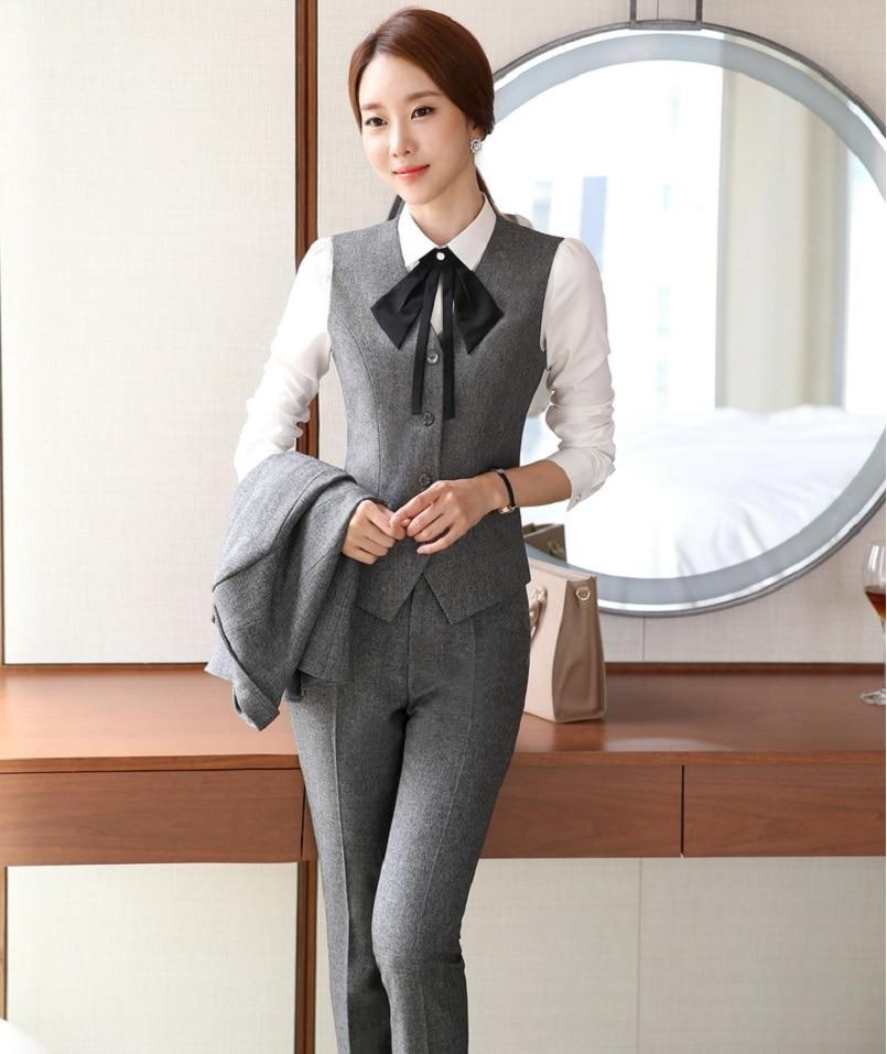 novelty grey slim fashion professional female pantsuits