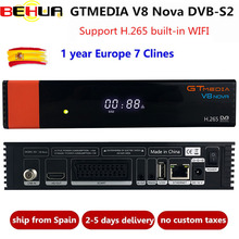 V8 Novaถอดรหัส1ปีClineสำหรับยุโรปFreesat GTMediaอัพเกรดV8 Super Full HD DVB S2 TV Receiver built In Wifi