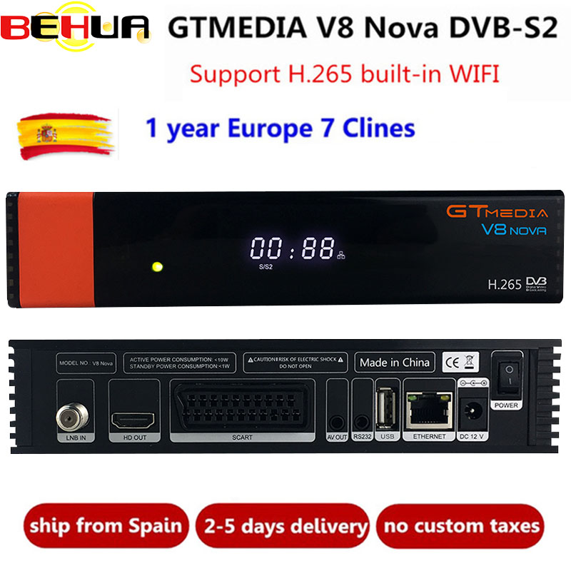 V8 Nova decoder mit 1 Jahr Cline für Europa Freesat GTMedia upgrade V8 Super Full HD DVB S2 Satellite TV Empfänger eingebaute wifi