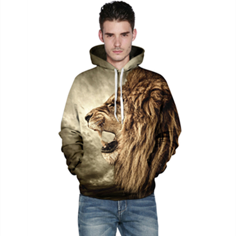New 3D Printed Lion Fashion Sweatshirts Long sleeve with hat Cosplay Lion Costume Men font b