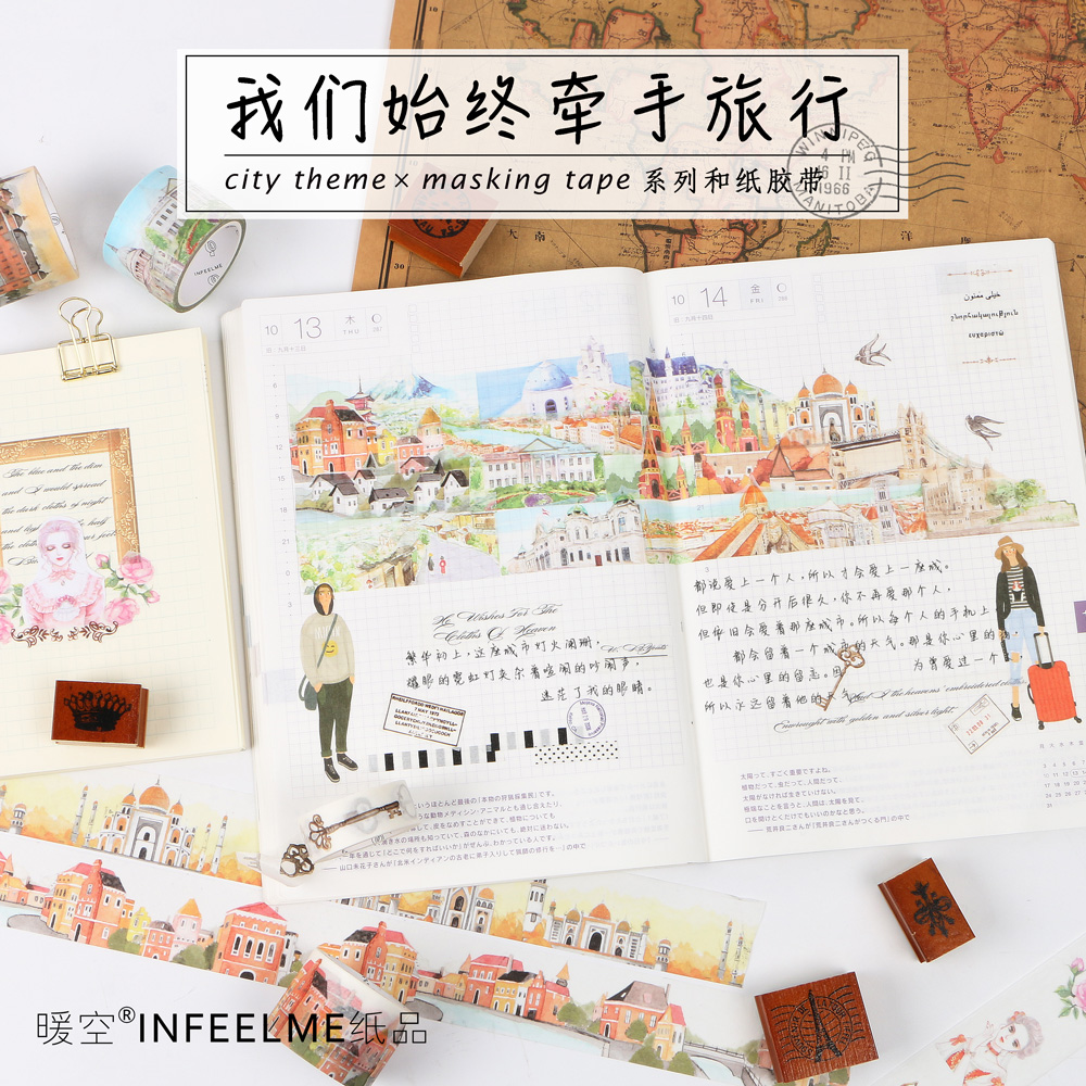 Travel the world city buildings Architecture dark feathers decoration scotch washi tape DIY diary planner scrapbook masking tape the architecture traveler – a guide to 250 twentieth–century american buildings