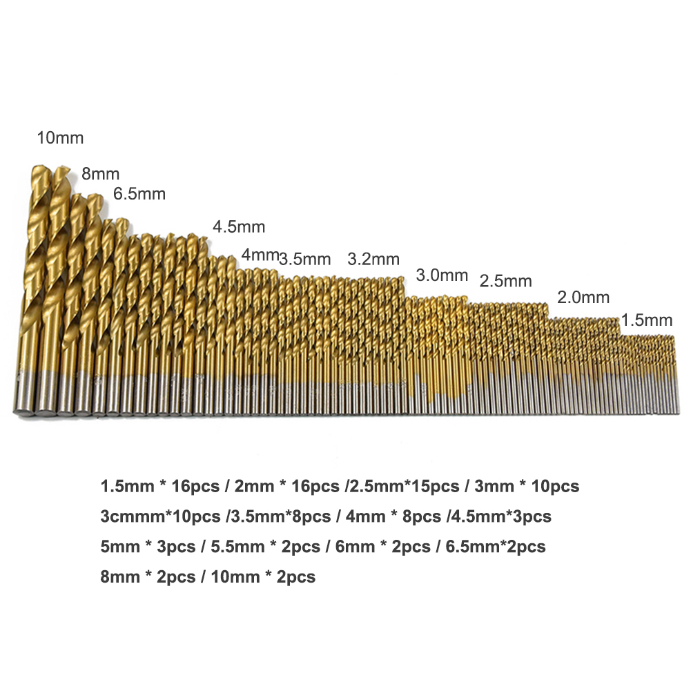 99pcs Twist Drill Bit Set Saw Set HSS High-speed Steel Drill Metal Wood Tool Woodworking 1.5/2/2.5/3/3.2/3.5/4/4.5/6.5/8/10mm high quality electric impact drill tungsten steel bit cement wall high hardness drill construction drill 5pcs pack 4 10mm set