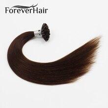 """Волос навсегда 0.8 г/локон 16 """"Реми U Совет Человеческих Наращивание волос темно-коричневый #4 Кератин Fusion Предварительно Таможенный ногтей Совет Наращивание волос 40 г/pac"""