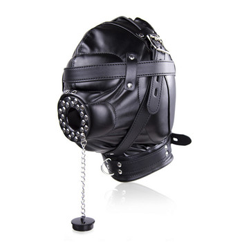 Porn Toys Adult Games Fetish Hood Headgear PU Leather BDSM Bondage Breathable Sex Mask With Plug Hood  Sex Product For Couples