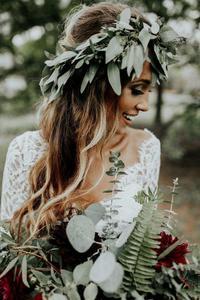 Image 5 - Vestido de noiva 2 pièces plage robes de mariée dentelle une ligne mousseline de soie demi manches robe de mariée bohème Sexy col en V robe de mariée