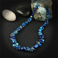 K's Gadgets Fashion Blue Striped Onyx Necklaces Pendants Boho Jewelry Natural Crystal Stone Beads Women Necklace Collier Femme